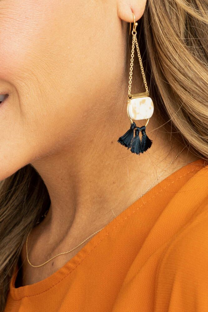 Azul Tassel Earring in Navy