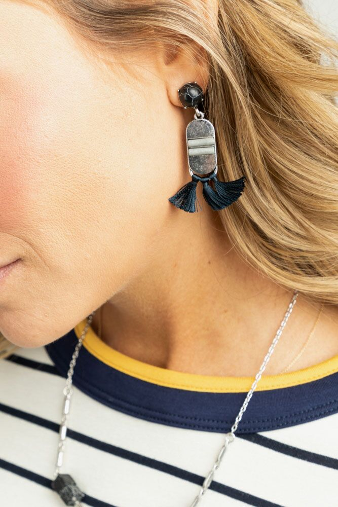 Taos Tassel Earrings in Navy