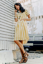 Daffodil Striped Dress in Mustard