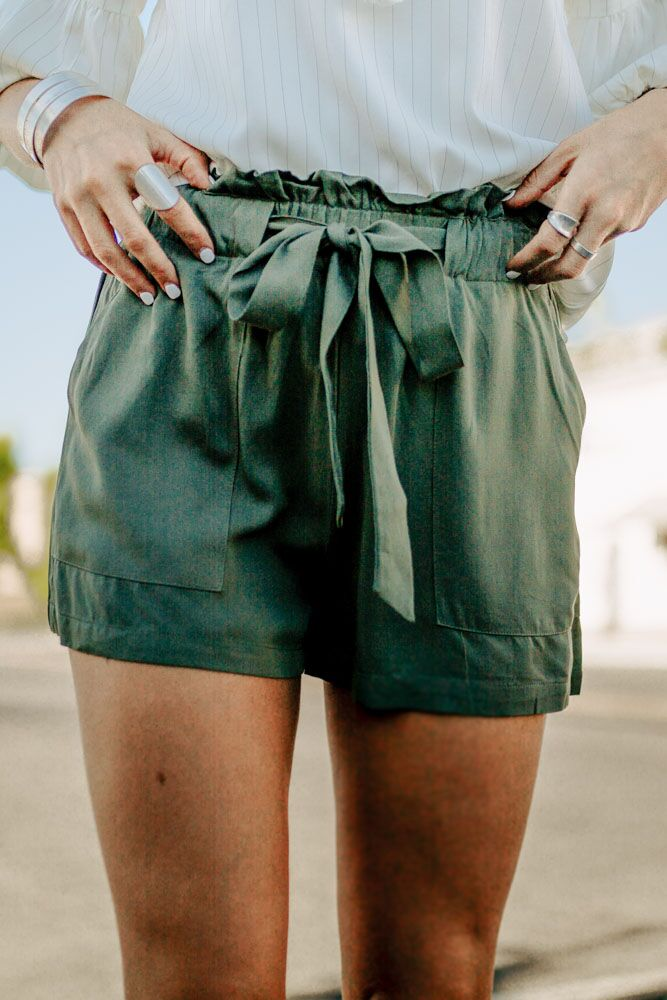 Summer Daze Paperbag Shorts in Olive