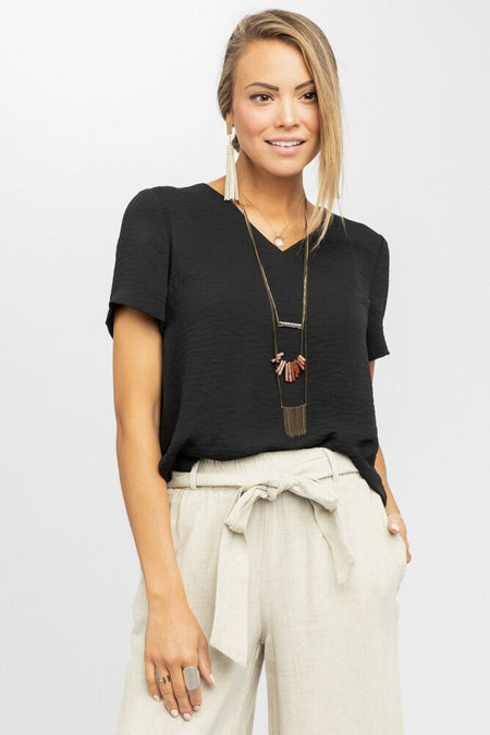 All Talk Blouse in Black - Bohme
