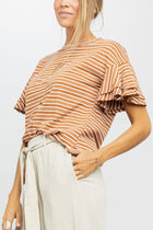 Starting Line Stripe Ruffle Sleeve Tee
