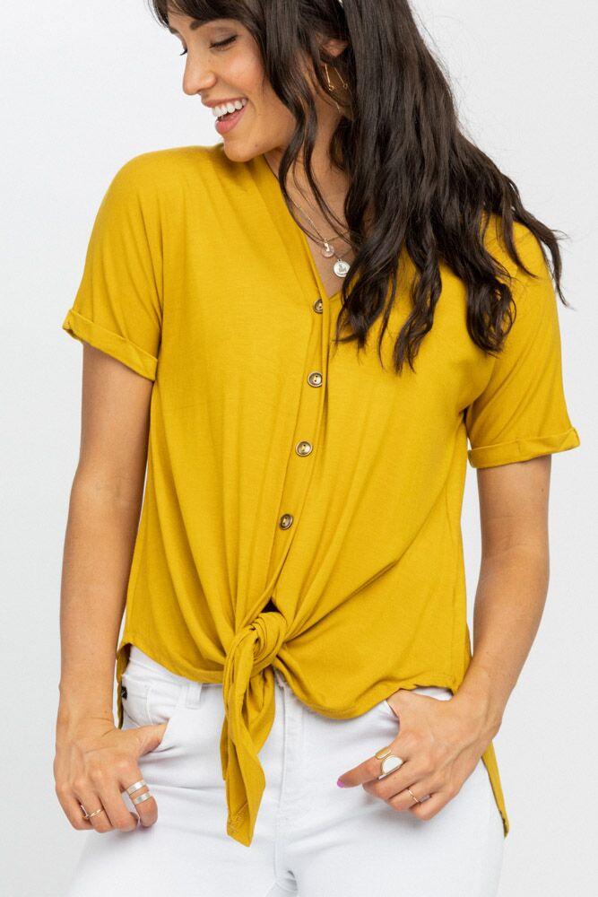 Cara Button Up Tee in Mustard - Bohme