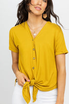 Cara Button Up Tee in Mustard