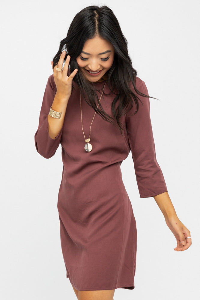 Beckett Tie Dress in Burgundy-FINAL SALE
