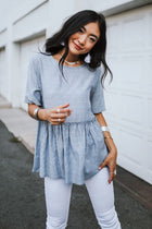 By the Bay Peplum Blouse in Blue