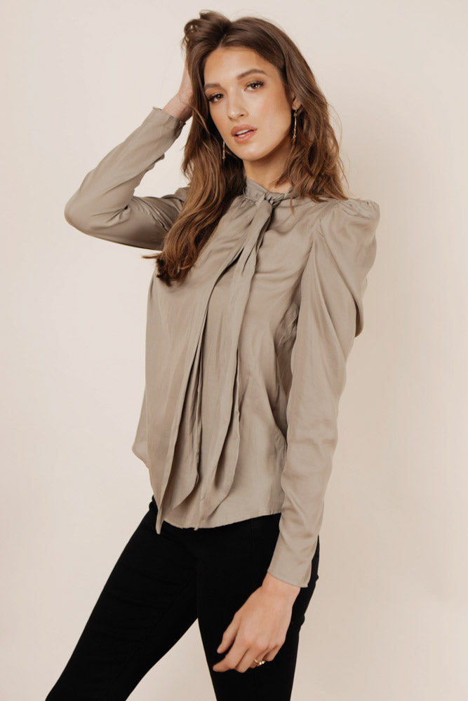 Eliza Tie Neck Blouse in Olive