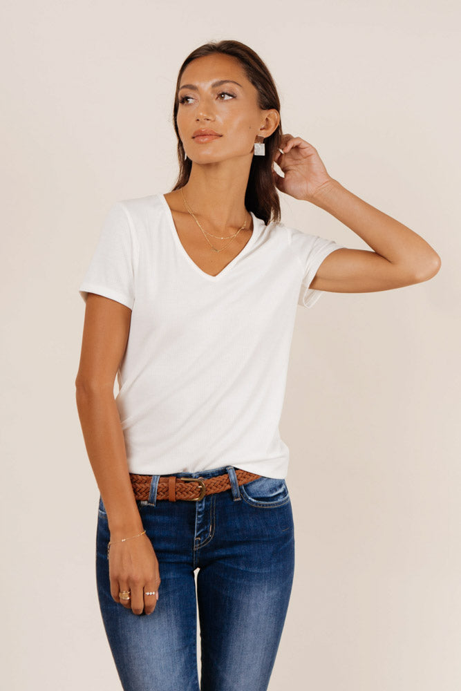 Essentials Ribbed Tee in White