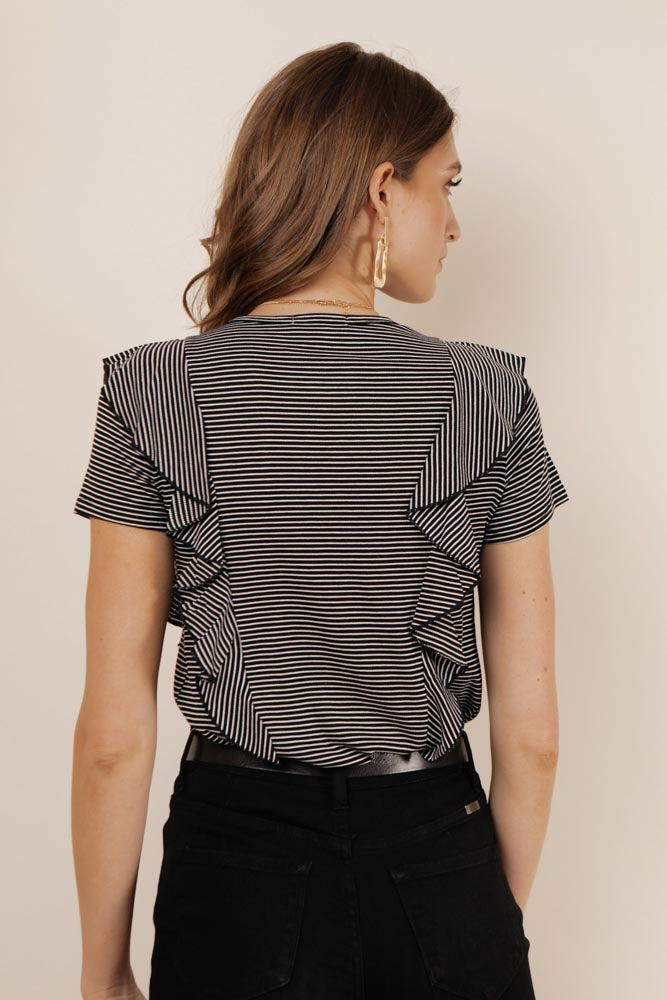 Gwyn Striped Ruffle Tee in Black