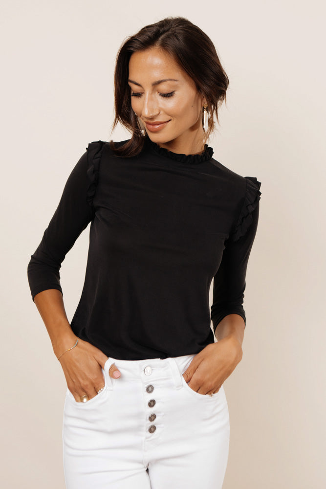 Isabella Ruffle Top in Black