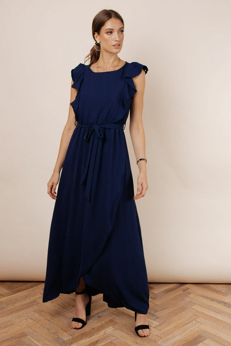 Karina Ruffle Maxi Dress in Navy