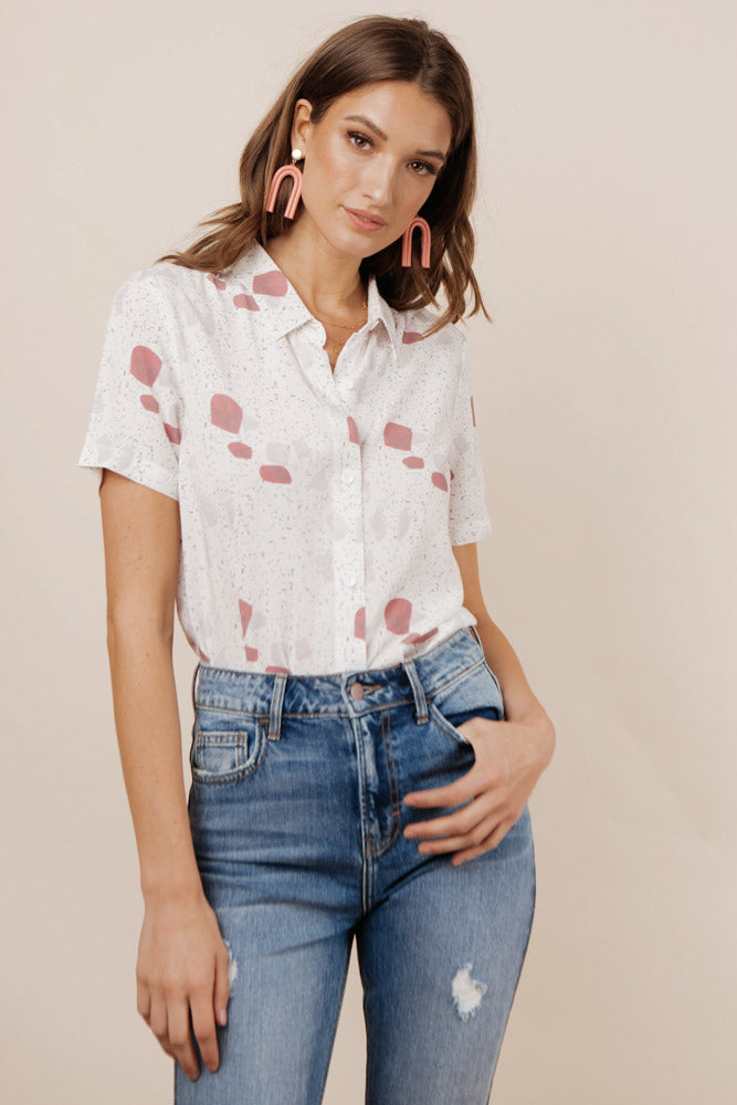 Red Stones Button Down - FINAL SALE