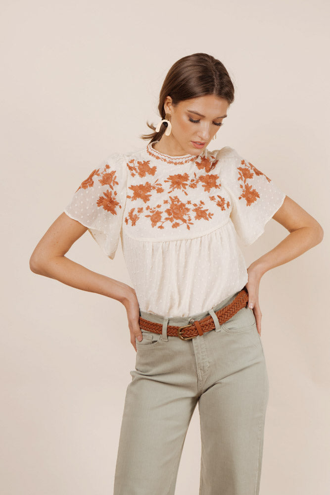 Rosetta Embroidered Top