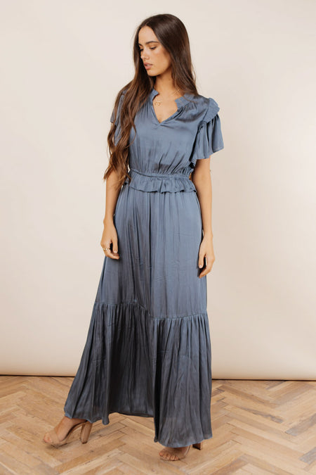 Marley Flutter Sleeve Dress in Blue