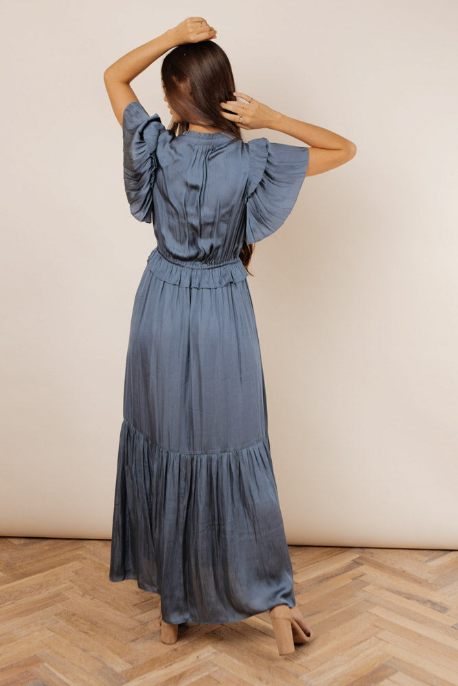 Marley Flutter Sleeve Dress in Blue - Final Sale