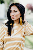 This Chic Mustard and Ivory Mock Neck Top - FINAL SALE