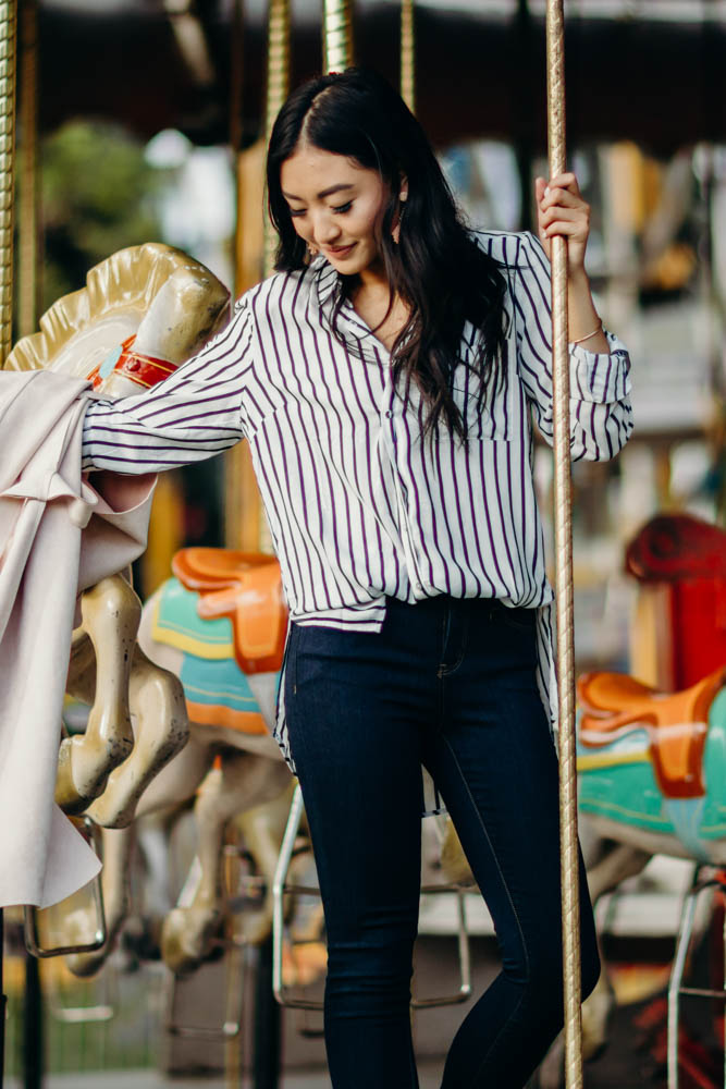 So It Goes Striped Button Up in Navy - Bohme