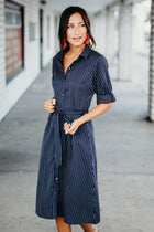 Breanna Stripe Shirt Dress - Bohme