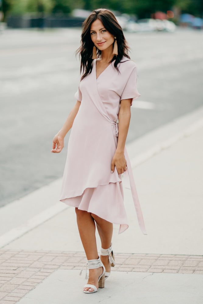 Kayda Wrap Dress in Blush