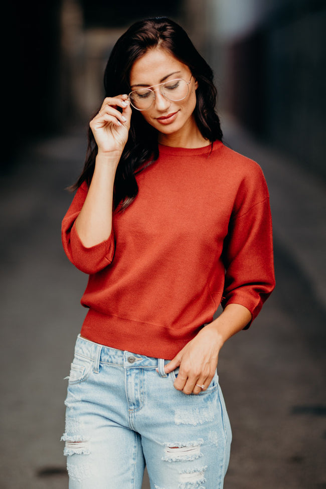 Harper Crop Sweater in Rust
