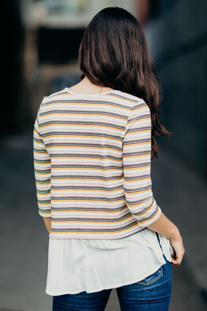 Lyza Striped Peplum Top - Bohme
