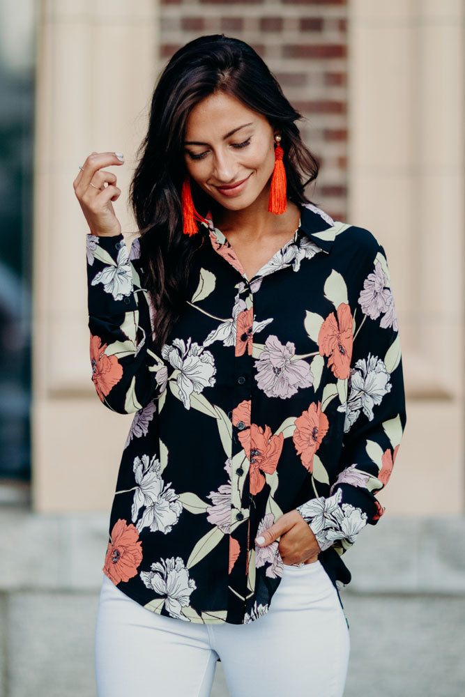 Isidore Floral Blouse in Black-FINAL SALE