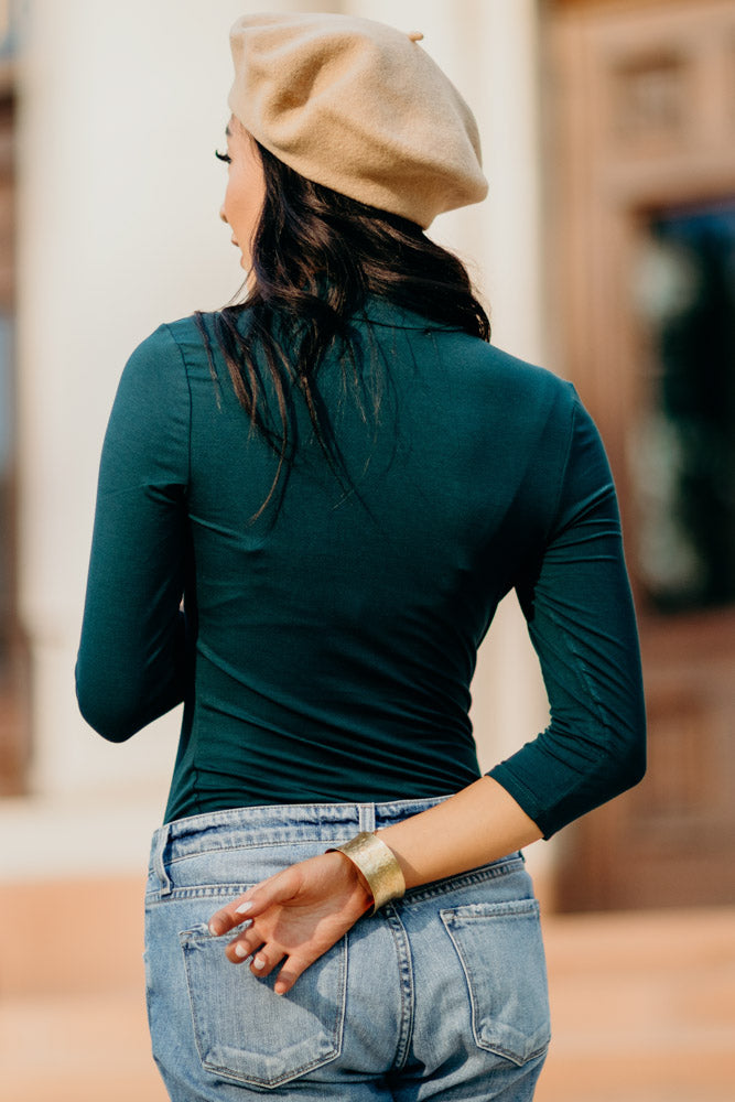 This Chic Emerald Mock Neck Top - Bohme