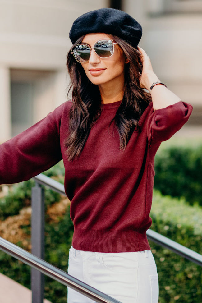 Harper Crop Sweater in Burgundy
