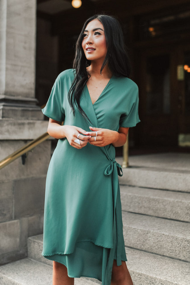 Kayda Wrap Dress in Olive