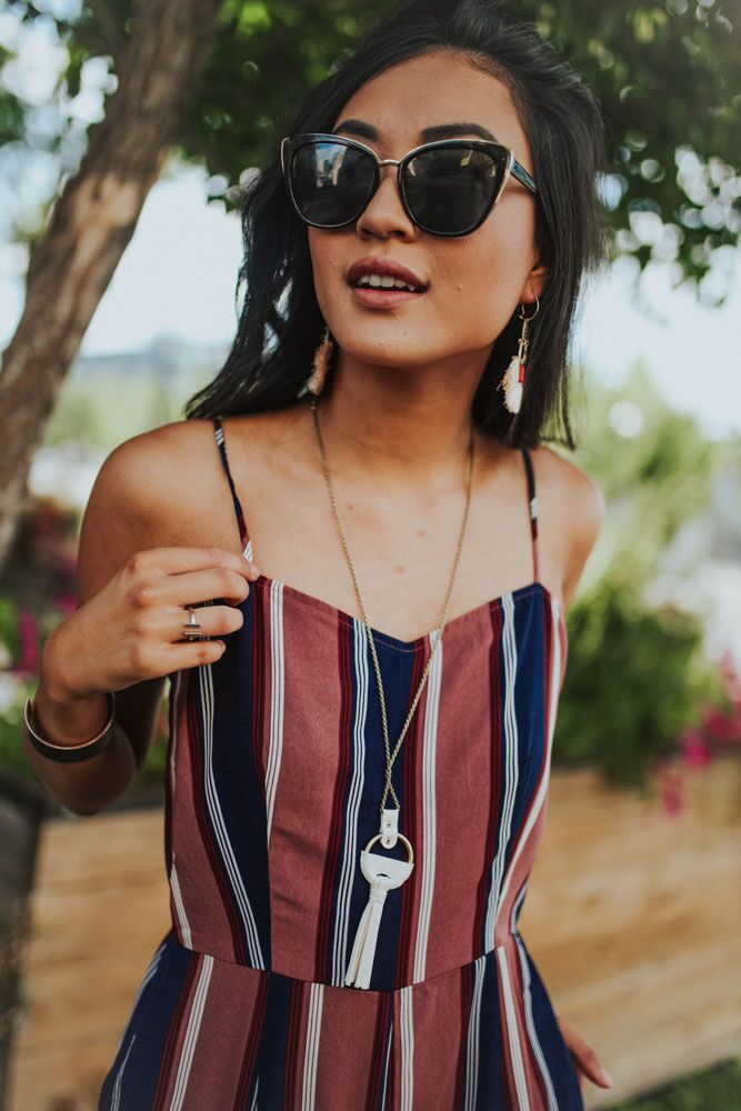 Getaway Jumpsuit in Navy and Mauve Stripes
