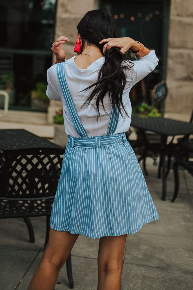 Eilla Striped Suspender Skirt