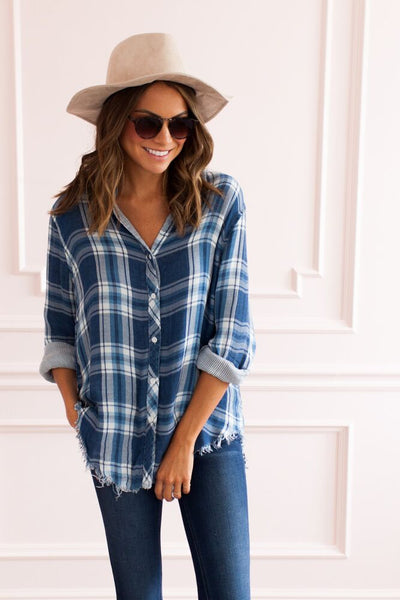 Plaid With My Heart Blue and White Button Up Top