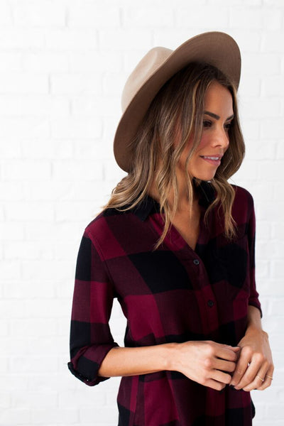 Hard to Beat Burgundy Plaid Button Up Top