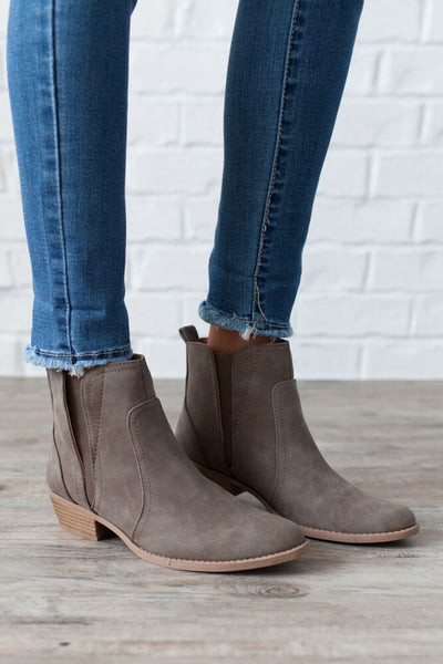 Wander My Way Taupe Ankle Booties