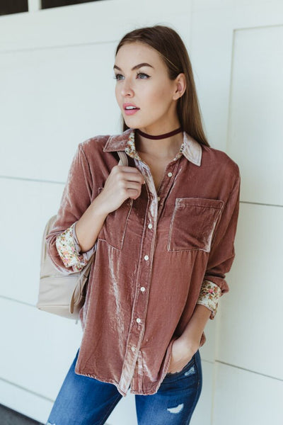 Cool and Collected Velvet Button Up Top