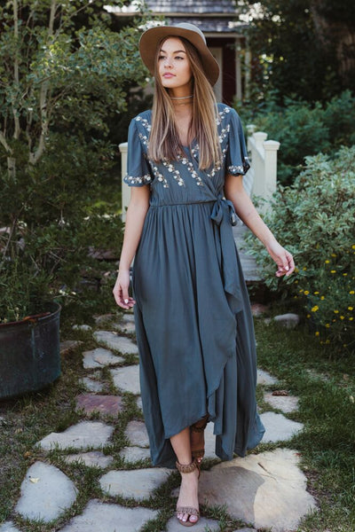 Deja Embroidered Wrap Dress in Jade