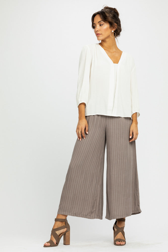 Lopa Striped Wide Leg Bottoms in Taupe-FINAL SALE - Bohme