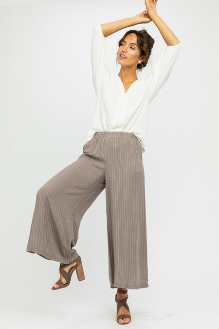 Lopa Striped Wide Leg Bottoms in Taupe