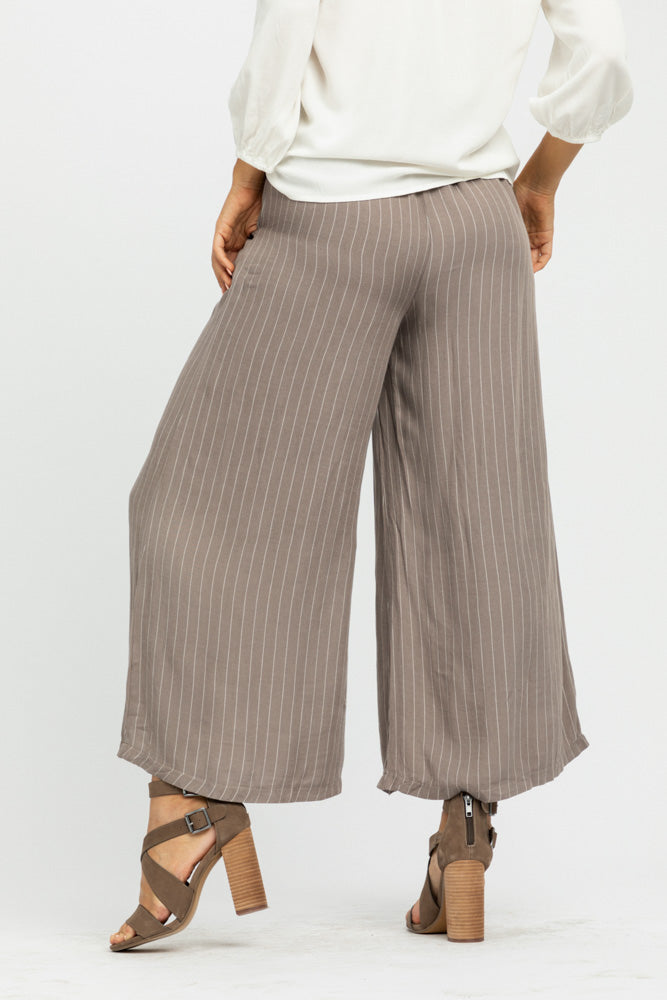 Lopa Striped Wide Leg Bottoms in Taupe - Bohme