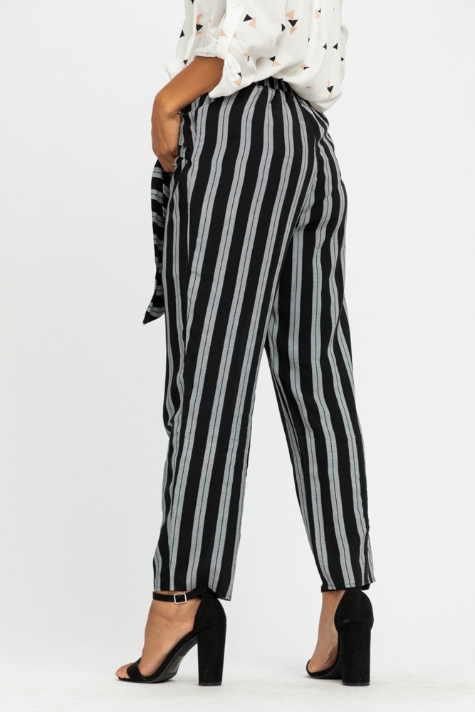 Lilou Knotted Stripe Pants in Black-FINAL SALE - Bohme