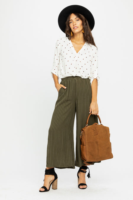 Lopa Striped Wide Leg Bottoms in Olive