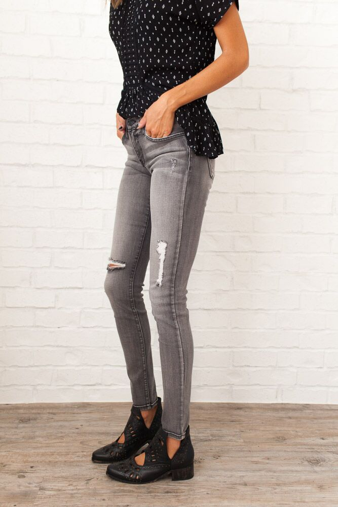 Basic Instincts Grey Distressed Jeans