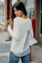 Bayler Striped Contrast Sweater in Ivory - Bohme