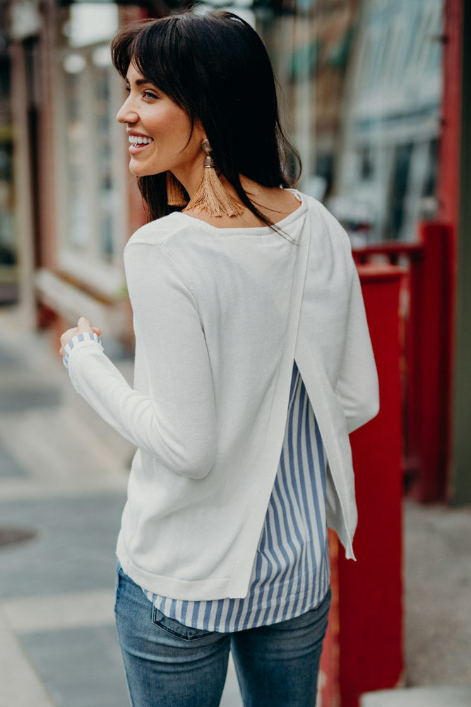 Bayler Striped Contrast Sweater in Ivory
