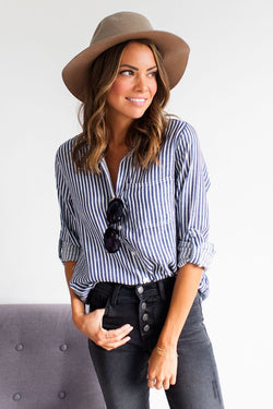 Business in Style Striped Button Up Top