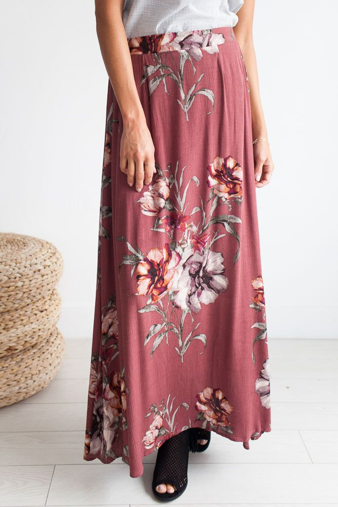 Sweet Romantics Floral Print Maxi Skirt-FINAL SALE