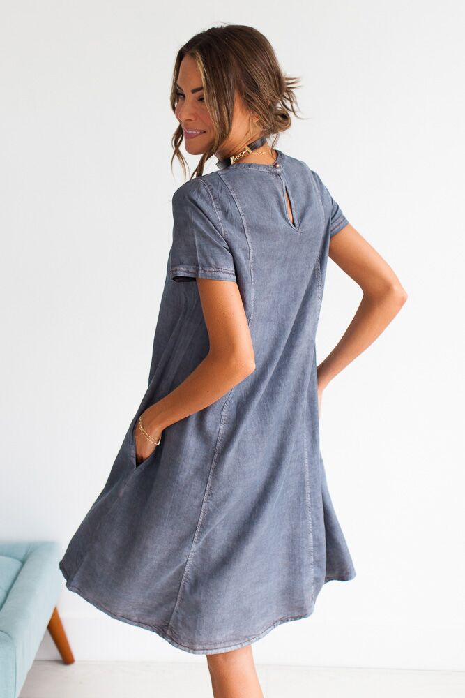 The Scarlett Short Sleeve Tencel Dress-FINAL SALE