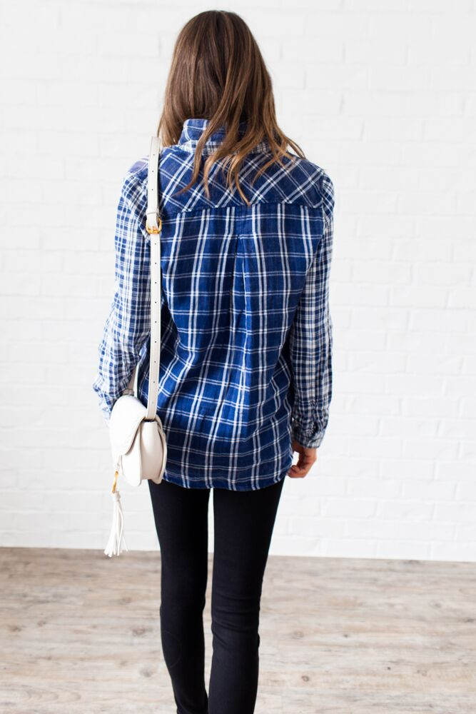 True Believer Plaid Button Up Top- FINAL SALE