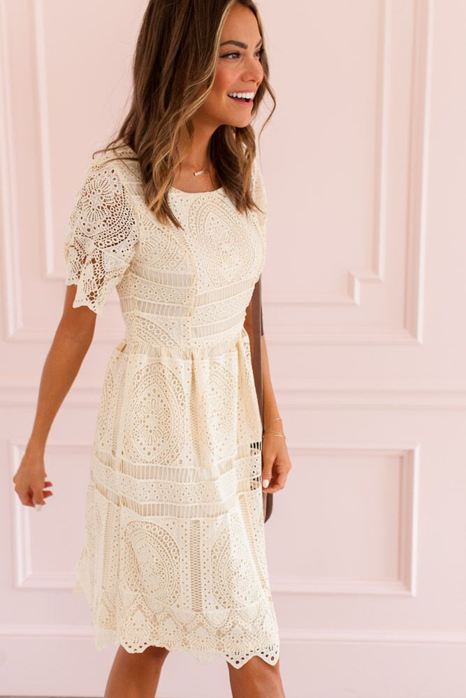 The Elizabeth Cream Crochet Dress