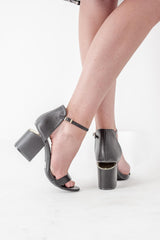 Black Gold Plated Open-Toe Sandal